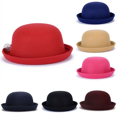 US Women Bowler Hats Children Kids Girls Derby Caps Warm Bucket Cloche Hat Wool - Kids Derby Hats
