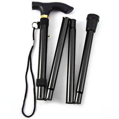 Adjustable Aluminum Metal Walking Stick Folding Collapsible Travel Cane Black US