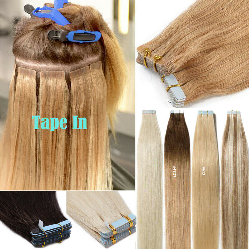 12-24inch Tape In Real Remy Human Hair Extensions Black Brow