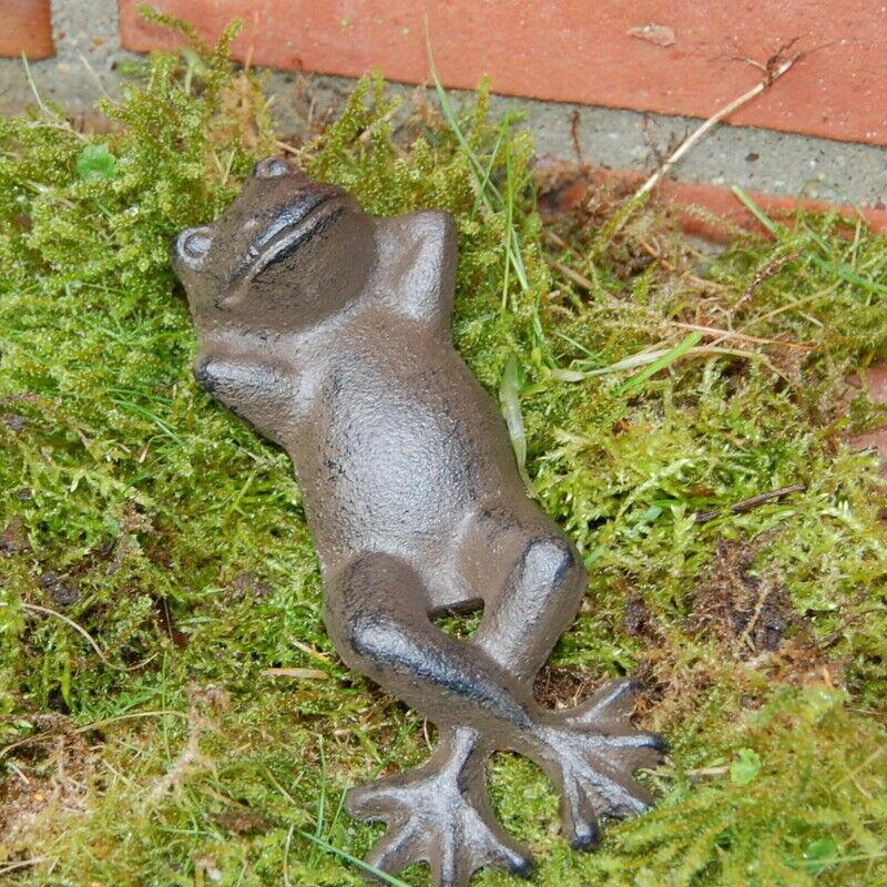 Frosch liegend groß aus Gusseisen Tierfigur