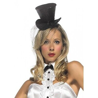 Leg Avenue MINI TOP HAT WITH VEIL for Ravishing Vamp Halloween Costume (TOP HAT) (Halloween Costumes For Vampires)