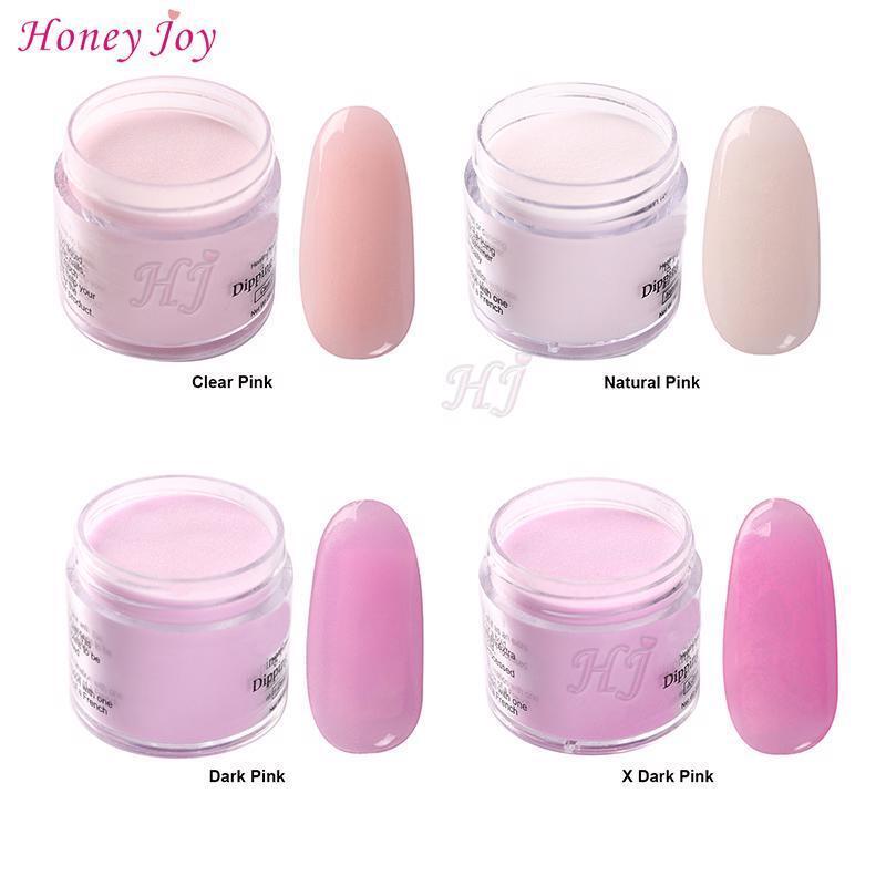 nail acrylic powder clear natural dark pink