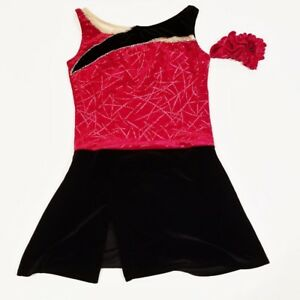 NEW - GIRLS BLACK & RED VELVET FIGURE SKATING DRESS