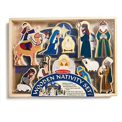 Melissa & Doug Wooden Christmas Nativity Set- 4-Pc. Stable with 11 Figures NEW