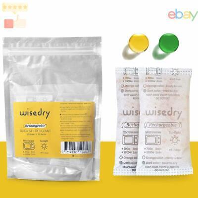 Wisedry 50 Gram 10 Packs Silica Gel Desiccant Packets Microwave Fast Reactiva