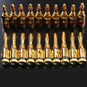 10 Pcs 24k Gold Plated 4MM Banana Plug Speaker Cable Jack Amp HiFi Connectors UK