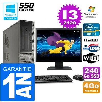 PC DELL 3010 DT Core I3-2120 Ram 4Go Disque 240 Go SSD Wifi W7 Ecran 19