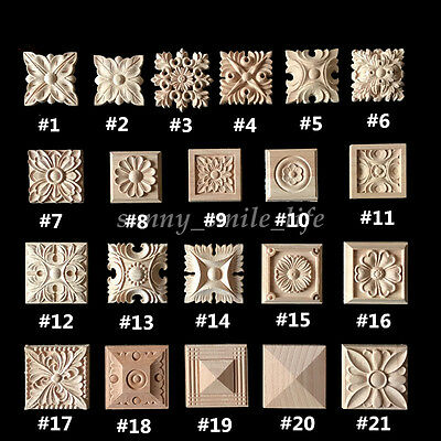 Hot Chic Wood Carved Square Onlay Applique Unpainted Flower Home Furniture Decor