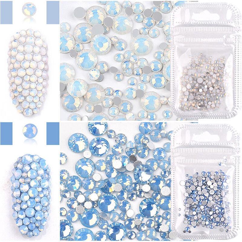 Blue White Opal Rhinestones