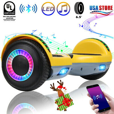 "6.5"" LED Bluetooth Hoover Board Self Balancing Electric Scooter Yellow No Bag UL"