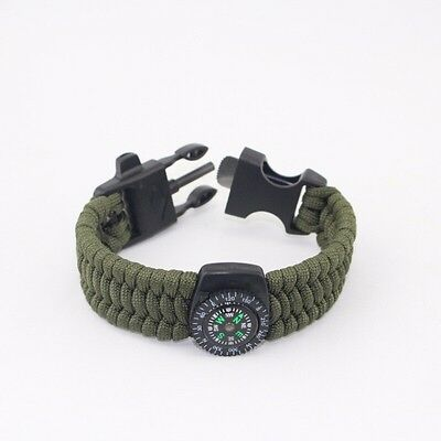 GREEN Paracord Survival Bracelet w/ Compass,Flint stone,& Whistle - Extra Wide