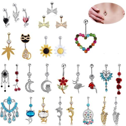 14g LongBeauty Navel Belly Button Rings Bar Crystal Flower D