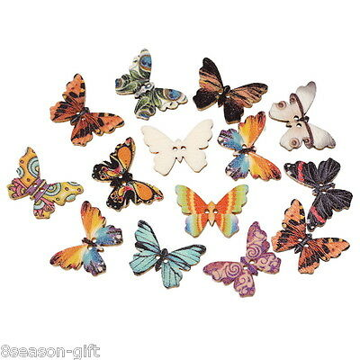 HX 100PC Wooden Buttons Butterfly Shape Mixed Color 2hole Sewing Scrapbook DIY](Wooden Butterfly)