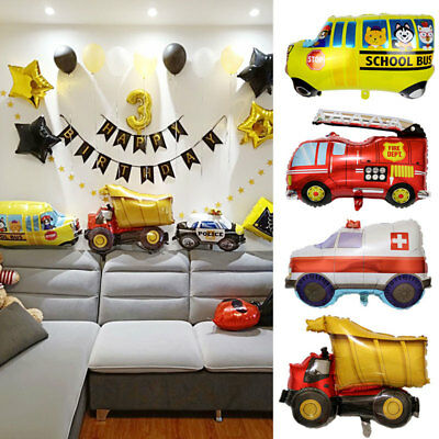 Kids Gift Foil Balloon School Cartoon Car Fire Truck Birthday Party Decor - Fire Truck Party Decorations