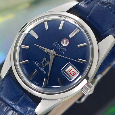 VINTAGE RADO Golden Horse AUTOMATIC 30 J DATE BLUE DIAL ANALOG DRESS MEN