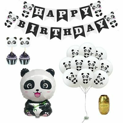 Happy Bday Banners (Panda Theme Party Decoration Balloons First Birthday Party Banners Happy)