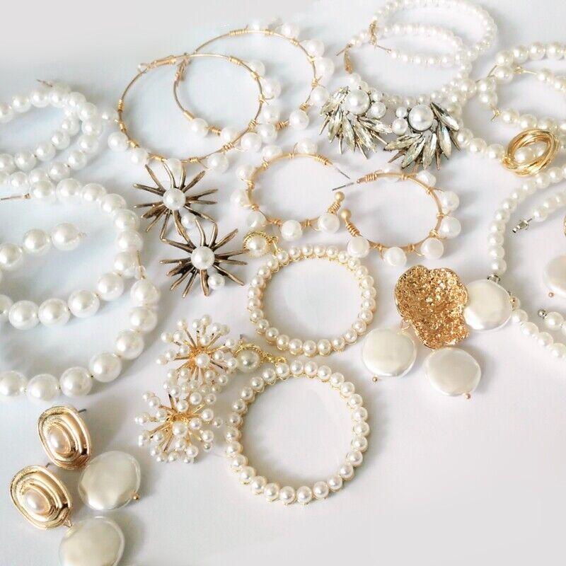 Elegant White Pearls Round Hoop Earrings Women Small Big Pea