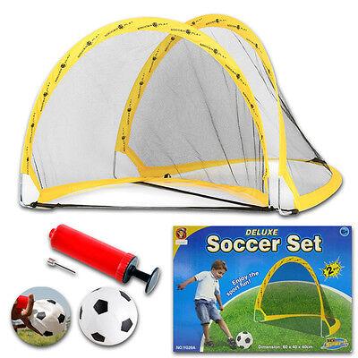 2-teilig Set Mini Outdoor De Luxe Zusammenfaltbar Kinder Fußball Pop Up Tore