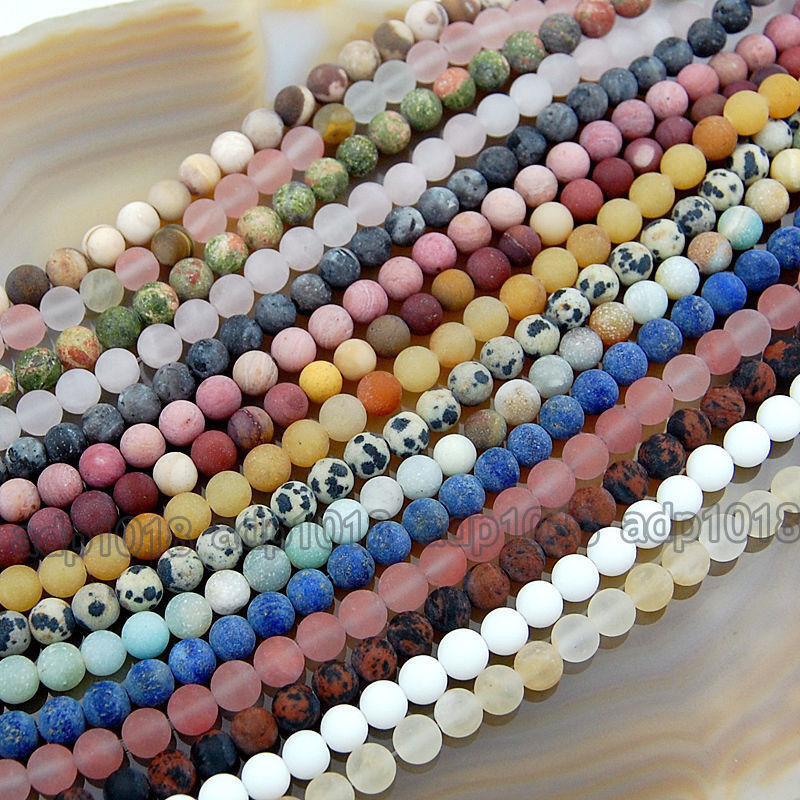 Wholesale Natural Matte Gemstone Round Spacer Loose Beads 4m