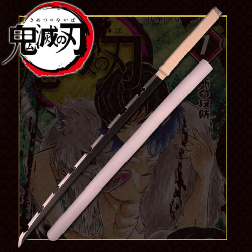 "39"" Kimetsu Yaiba Demon Slayer Inosuke Hashibira Anime Sword Blade Cosplay Prop"