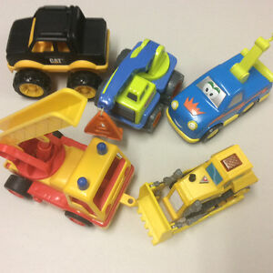 Five toy vehicles