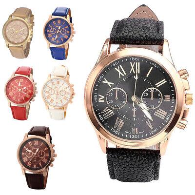 GENEVA Analog Watch Big Face Leather Women Ladies Strap Quartz Wrist Watches