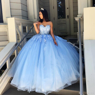 Sky Blue Quinceanera Dresses Sweetheart Flowers Evening Party Sweet 16 Dress