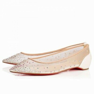 NIB Christian Louboutin Follies Strass White AB Patent Ballerina Ballet Flat 36