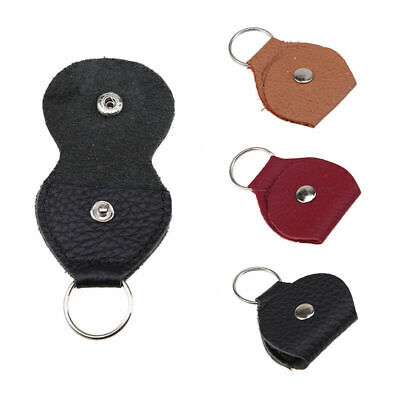 Small Leather Keychain Design Guitar Pick Holder Plectrum Bag Case with Key Ring