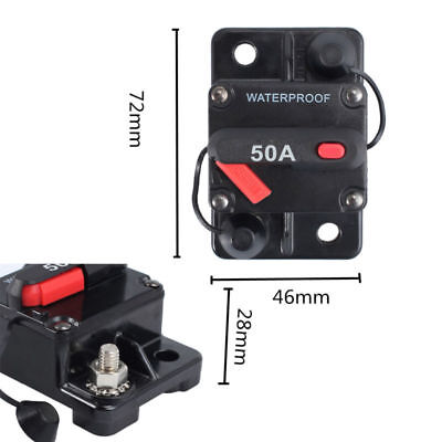 12V/24V DC 50A AMP Car Audio Inline Circuit Breaker Fuse Holder Reset Switch