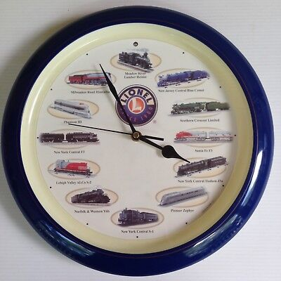 Lionel Train Wall Clock with 12 Train Sounds-Different Each Hour