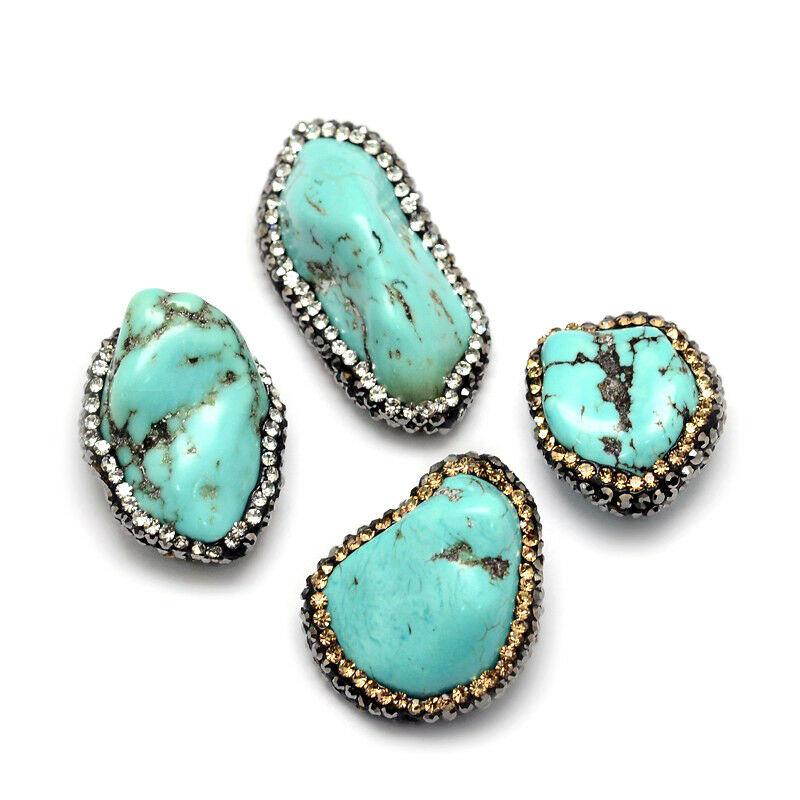10pcs chinese turquoise gemstone nuggets jewellery making craft UK