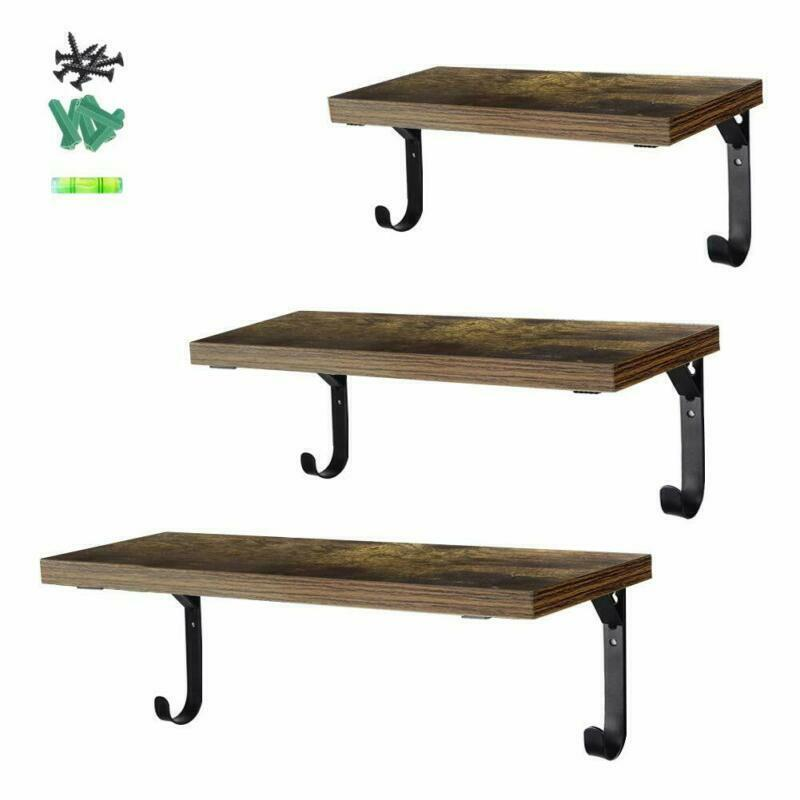 3 PCS Floating Shelves Wall Mounted Rustic Wood Wall Storage