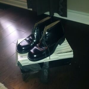 Brown's patent leather shoes