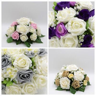 Artificial Wedding Flowers Silk Table Centre Decoration Arrangement 68 Colours - Wedding Table Arrangements