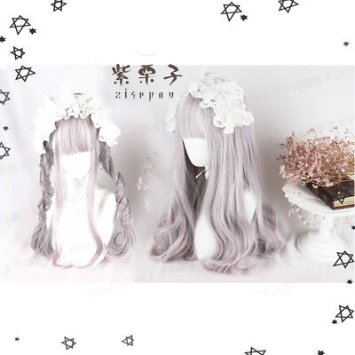 Harajuku Sweet Dolly Japanese Purple Mixed White Lolita Mori Girl Princess Wig