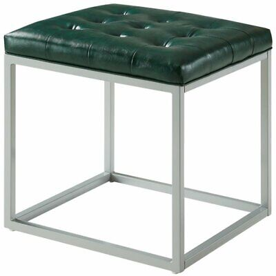 Brika Home Faux Leather Tufted Ottoman in Green ()