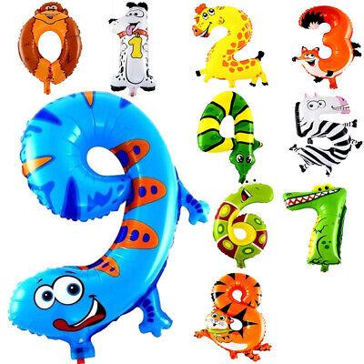 Folienballon Zahl Luftballon für Geburtstag Tiere Tiger Giraffe Zoo Party Deko ()