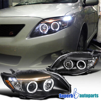 fit 2009-2010 Toyota Corolla Clear LED Dual Halo Projector Headlights Black ()