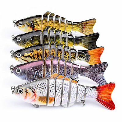 5XMinnow Crank Baits Bass Segment Multi Jointed Fishing Lure Crankbaits Swimbait