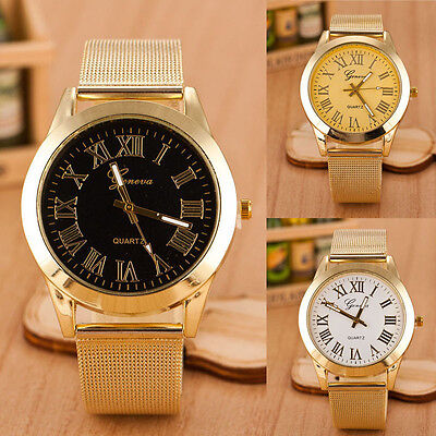 Men Roman Numerals Watch Digital Display Watch Quartz Gold Wrist Watch