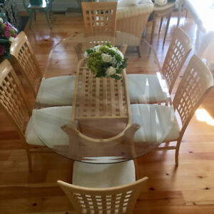 Bevelled Glass-Top Table and six matching chairs