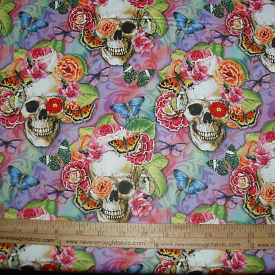 Cotton Fabric Day of the Dead Floral Calaveras Skulls Flowers Butterflies BTY
