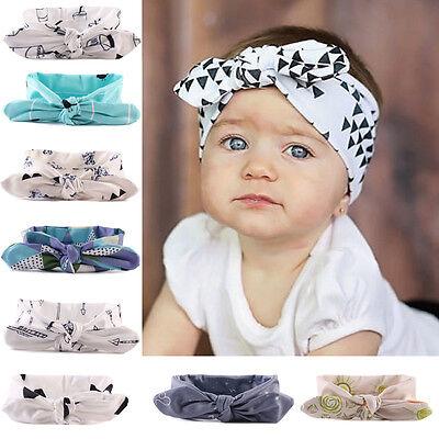 USA Newborn Baby Kids Girls Rabbit Bow Headband Hairband Headwear Turban Knot