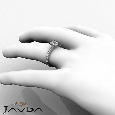French V Pave Round Natural Diamond Engagement Cathedral Ring GIA E VVS1 0.8 Ct 3