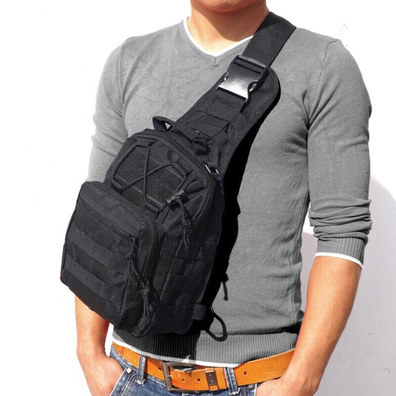 Men Backpack Molle Tactical Sling Chest Pack Shoulder Bag Outdoor Hiking Travel 1