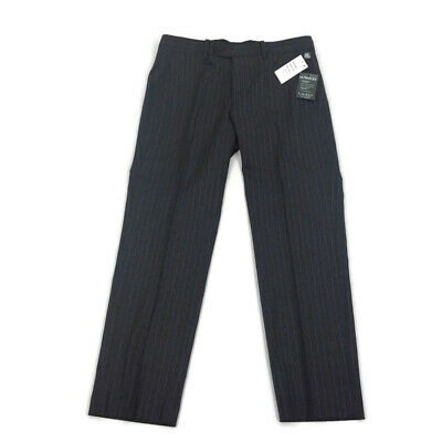 Lauren Ralph Lauren Mens Dress Pants Ultraflex Wool Gray Blue Pinstripe 34 x 30