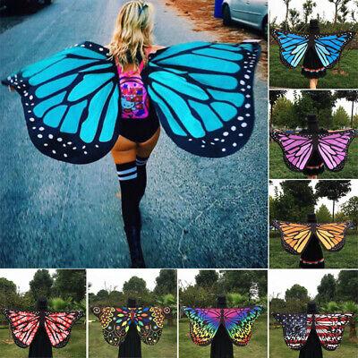 Damen Kinder Weicher Stoff Schmetterlingsflügel Schal Fairy Nymphe Pixie - Nymphe Kostüm Kinder