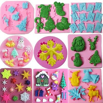Silicone Christmas Fondant Cake Mold Soap Chocolate Candy Mould Decorating (Christmas Decorating Candy)