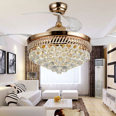 Modern Crystal Remote Control Retractable Ceiling Fan Lamp C